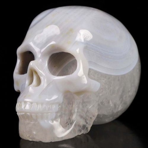 "Botswana Agate Realistic Carved Gemstone Crystal Skull 2"" Inch SK57"